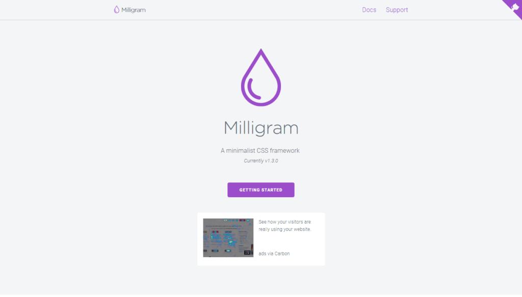 CSS Frameworks: Milligram