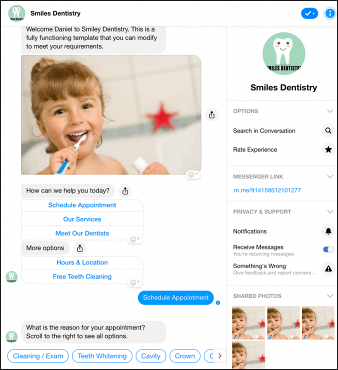 Chatbot marketing para dentistas