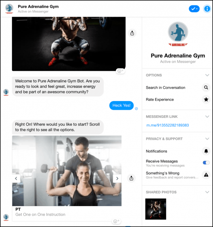 Chatbot marketing para gimnasios