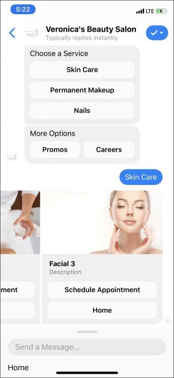 Chatbot marketing para salones de belleza